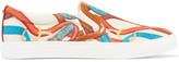 Sam Edelman Pixie Faux Leather-trimmed Printed Satin Sneakers - White