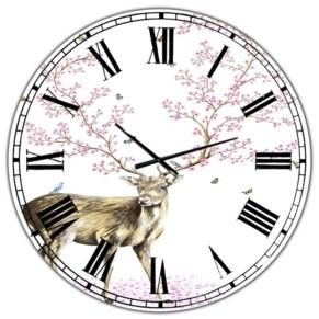 """Design Art Designart Cherry Blossom Deer Oversized Cottage Wall Clock - 36"""" x 28"""" x 1"""""""