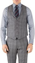 Charles Tyrwhitt Silver Prince Of Wales Adjustable Fit Flannel Business Suit Wool Vest Size w40