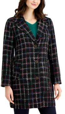 Charter Club Petite Tweed Plaid Jacket, Created for Macy's