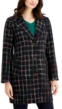 Charter Club Plaid Long Jacket, Created for Macy's