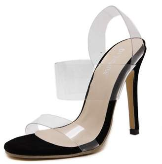clear Kadell Women Ladies Summer High Fashion Transparency Strappy Stiletto High Heel Open Peep Toe Sandal Cool Shoes
