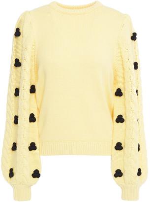 Shrimps Damon Pompom-embellished Cable-knit Merino Wool-blend Sweater