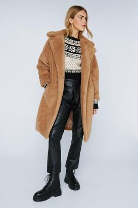 Nasty Gal Womens We're Teddy Faux Fur You Oversized Coat - Black - 10