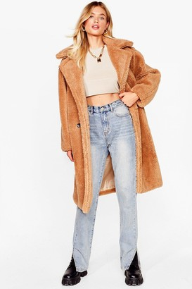 Nasty Gal Womens We're Teddy Faux Fur You Oversized Coat - Camel