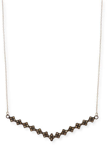 Armenta New World V Bar Necklace with Champagne Diamonds