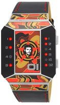 01 The One 01TheOne Unisex SC114R1 Split Screen Art Edition Orange LED Black Leather Watch