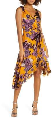 Harlyn Burnout Asymmetrical Satin Dress