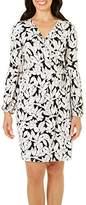 London Times Women's Solid Matte Jersey Long Sleeve Ruffled Faux Wrap