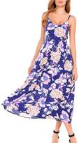 Meaneor Women Floral Sleeveless Spaghetti Strap Boho Slim Maxi Dress