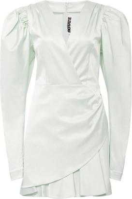 Rotate by Birger Christensen Aiken Puffed-Sleeve Satin Dress
