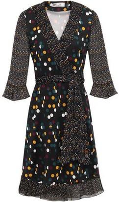 Diane von Furstenberg Georgette-paneled Ruffle-trimmed Polka-dot Silk-jersey Wrap Dress