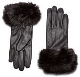 Barbour Women's Faux Fur Trimmed Leather Gloves Black