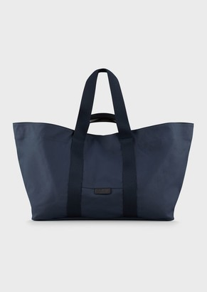 Giorgio Armani Canvas Shopper With Leather Details