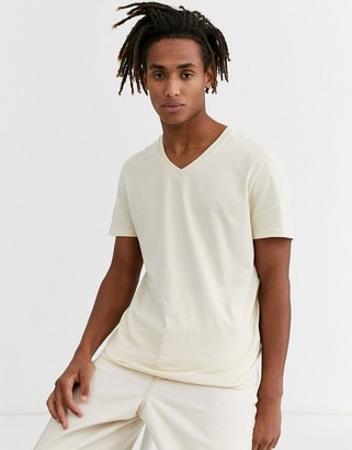 BEIGE Asos Design ASOS DESIGN t-shirt with v neck in
