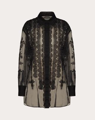 Valentino Embroidered Organza Shirt Women Black Silk 100% 36