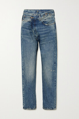 R13 - Crossover Asymmetric Distressed Boyfriend Jeans - Blue