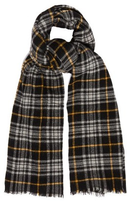 Isabel Marant Simona Checked Wool-blend Scarf - Black