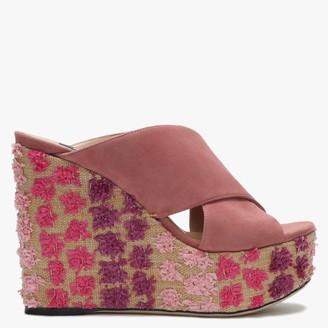 Sergio Rossi Alma 75 Pink Suede Cross Over Textured Wedge Sandals