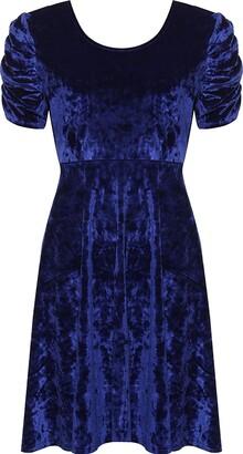 Girlzwalk Ladies Plus Size Crushed Velour Velvet Swing Dress Ruched Short Sleeve Cross Back Size 14-28 (UK - 16