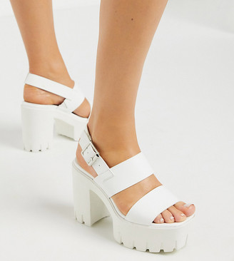 ASOS DESIGN Wide Fit Wait chunky platform heeled sandals in white