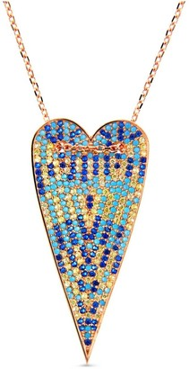 Rose Multi-Color Long Heart Necklace
