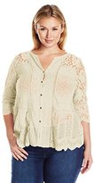 Lucky Brand Women's Plus Size Lace Mix Top