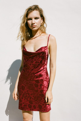 Urban Outfitters Mallory Cowl Neck Slip Satin Dress