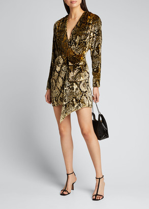 retrofete Eleanor Velvet Snake-Print Cocktail Dress
