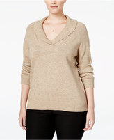 Karen Scott Plus Size Marled Shawl-Collar Sweater, Only at Macy's