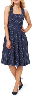 Review Sienna Spot Dress Navy