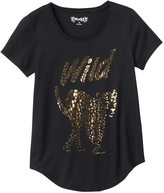 Mudd Girls 7-16 & Plus Size Raw Edge Scoopneck Shiny Graphic Tee