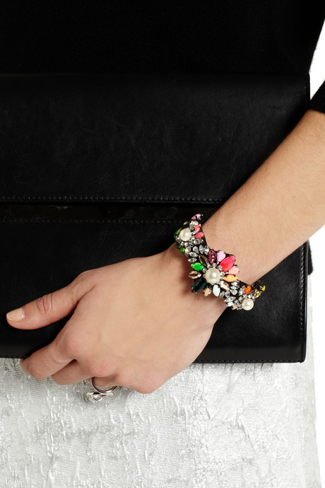 Shourouk Rainbow Pearl silver-plated, Swarovski crystal and faux pearl cuff