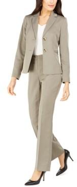 Le Suit Straight-Leg Tonal-Striped Pants Suit