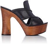 Saint Laurent Women's Leather Platform Clogs-Black
