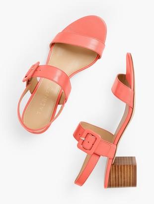 Talbots Mimi Leather Block Heel Sandals