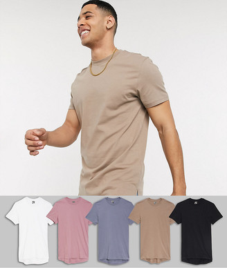 ASOS DESIGN 5 pack longline t-shirt with side splits