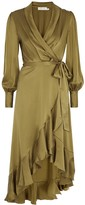 Zimmermann Super Eight Olive Silk-satin Wrap Dress