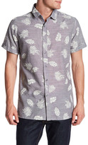 Sovereign Code Short Sleeve Leaf Print Woven Slim Fit Shirt