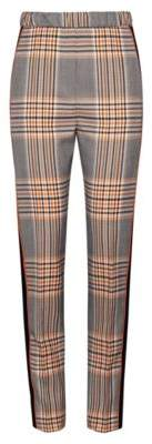 HUGO High-waisted regular-fit trousers in Glen-check fabric