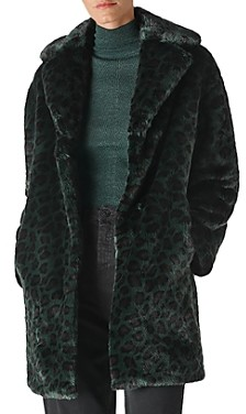 Whistles Frankie Leopard Printed Faux-Fur Coat