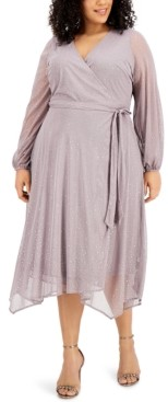 Alfani Plus Size Metallic Fit & Flare Dress, Created for Macy's