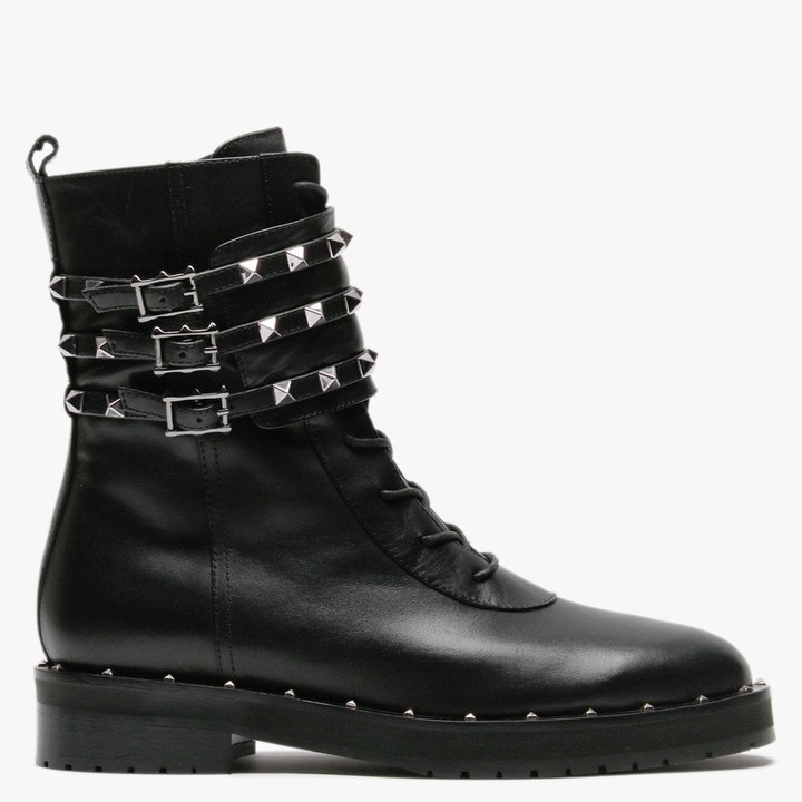 Daniel Plano Black Leather Studded Biker Boots
