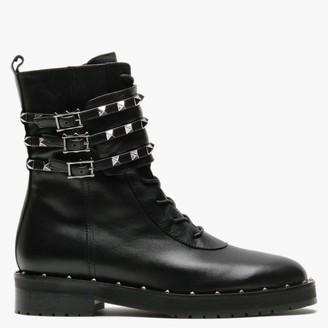 Daniel Plano Black Leather Studded Biker Boots