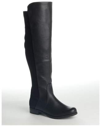 Leila Linzi Black Nappa Over The Knee Boot with Lycra Stretch Back Panel