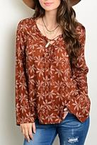 Honey Punch Rust Print Blouse