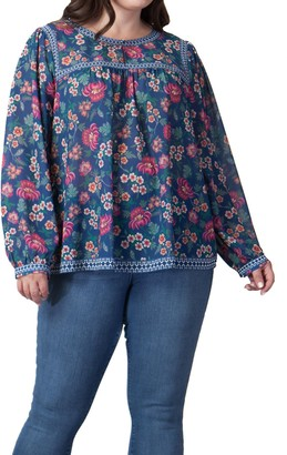 Flying Tomato Floral Print Long Sleeve Blouse (Plus Size)