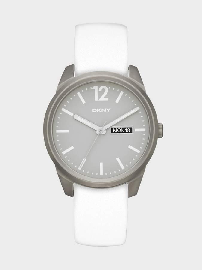 DKNY Gansevoort White Leather 3 Hand Watch