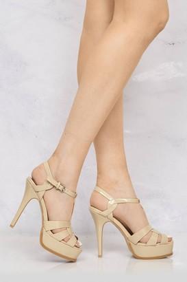 Miss Diva Tani high platform t-bar sandals in Nude Patent