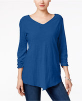Style&Co. Style & Co. V-Neck Handkerchief-Hem Top, Only at Macy's